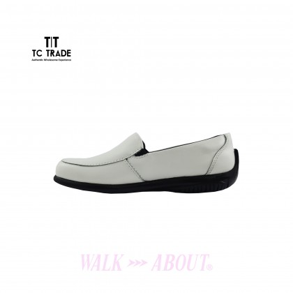WALK ABOUT® Ladies casual shoes / Nurse shoes with White Cow Leather (1908 White 11)