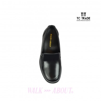 WALK ABOUT® Ladies Slip-on Shoes with Genuine Soft Cow Leather (1908 Black 18)